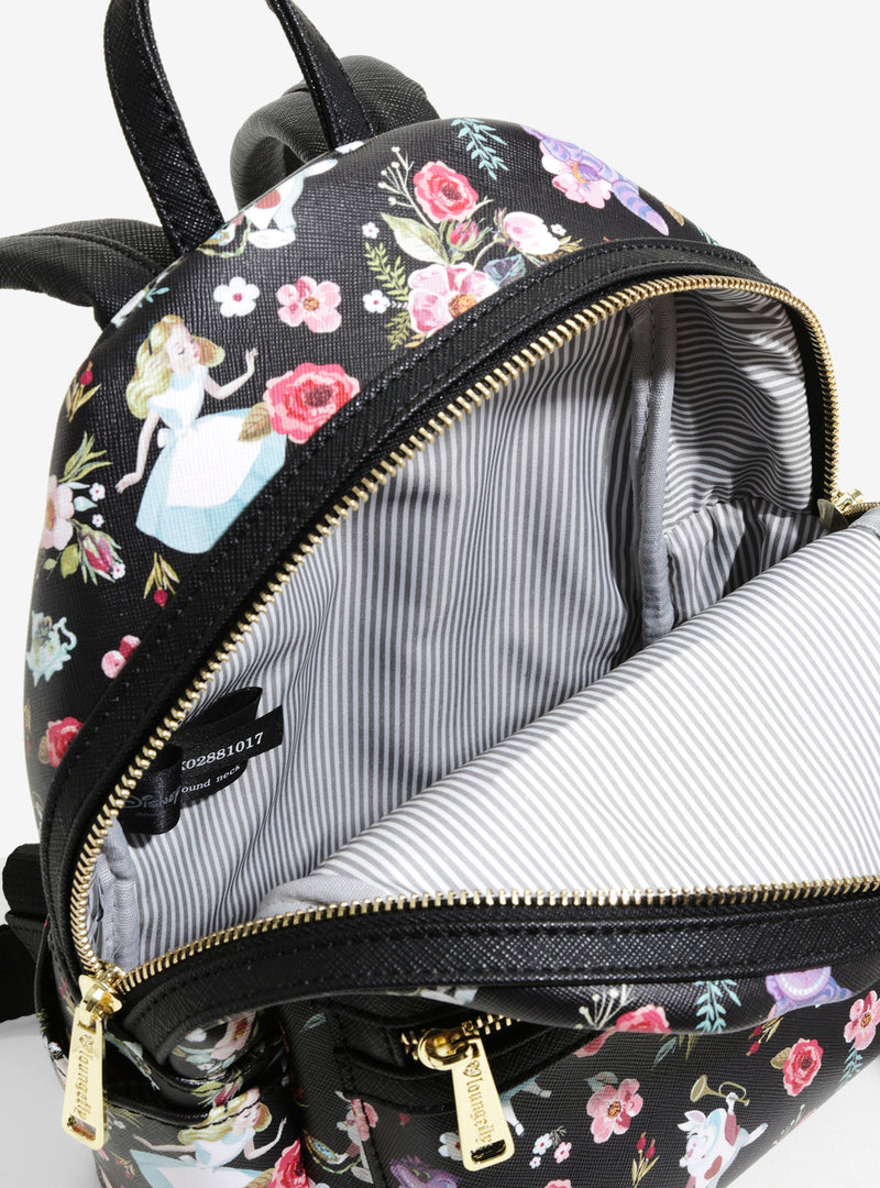 Loungefly Disney Alice In Wonderland Floral Mini Backpack - Kryptonite Character Store