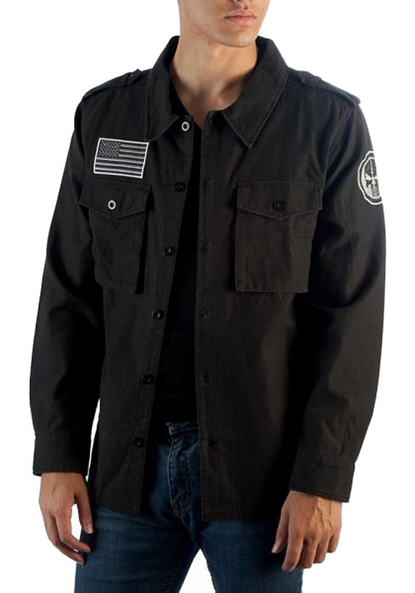 Marvel Utility Punisher Jacket Vigilante Skull Logo Button Up Jacket