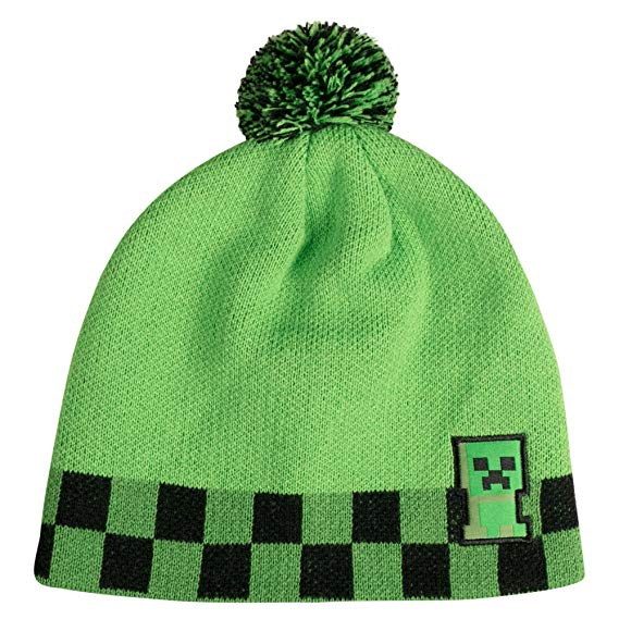 Minecraft Creeper Sprite Pom Beanie, Youth Fit