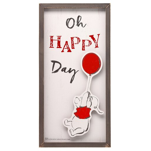 Oh Happy Day Winnie The Pooh Bear Wooden Wall Art Sign