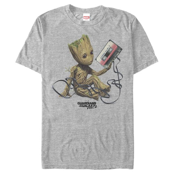 Marvel Men's Guardians Of The Galaxy Vol. 2 Groot Tape Portrait T Shirt