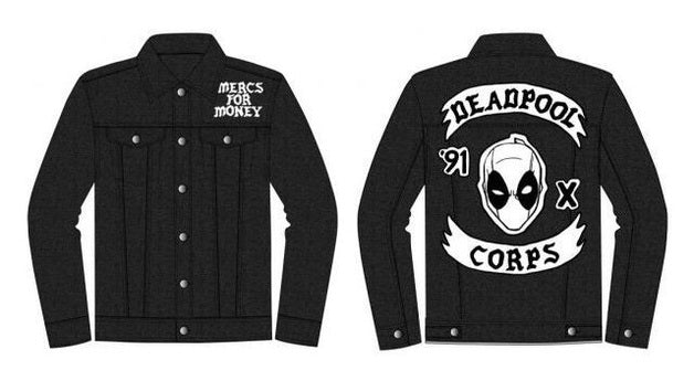 Marvel Deadpool Corps Adult Black Denim Jacket