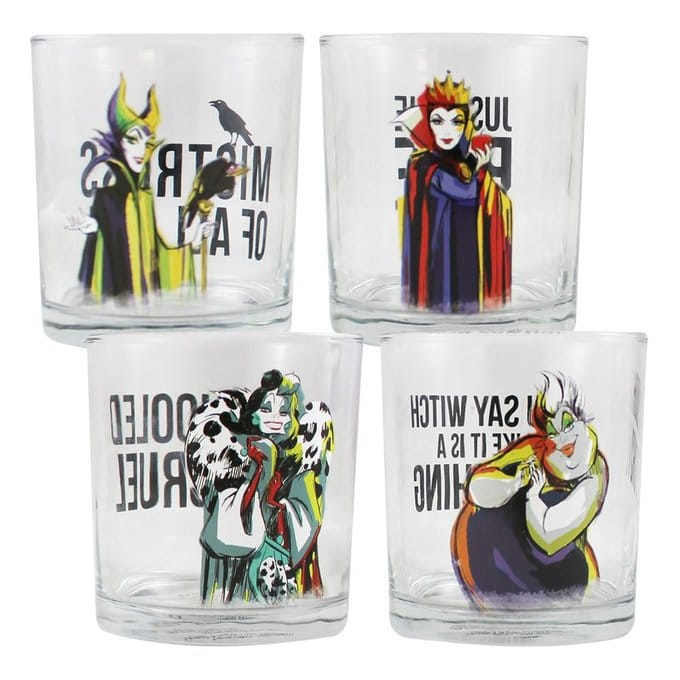 Disney Villains: Set of Four 10 oz. Glasses - Kryptonite Character Store