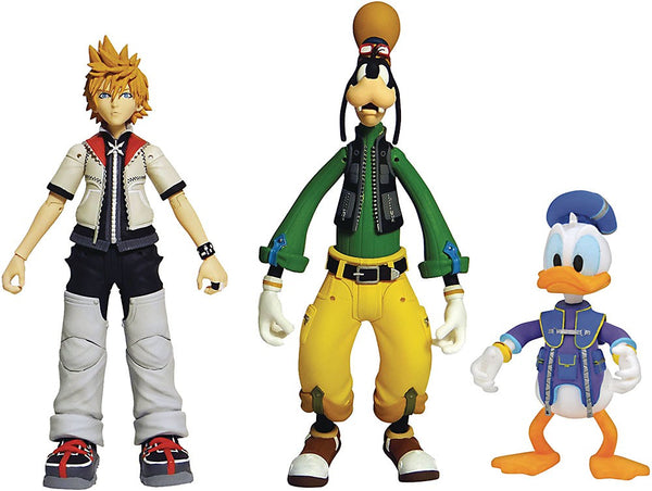 Kingdom Hearts Roxas, Donald Duck & Goofy Action Figure 3-Pack