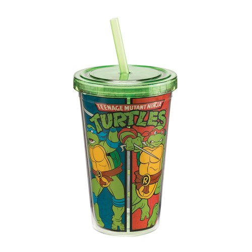 Vandor Teenage Mutant Ninja Turtles 12 oz Travel Cup with Lid and Straw, Multicolor