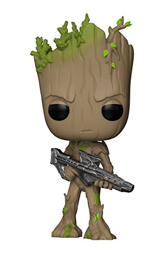 Funko Pop Marvel: Avengers Infinity War-Teen Groot with Gun Collectible Figure, Multicolor - Kryptonite Character Store