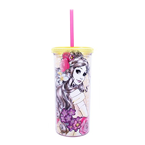 Disney Princess Belle Sketch Plastic 20oz. Straw Cup - Kryptonite Character Store
