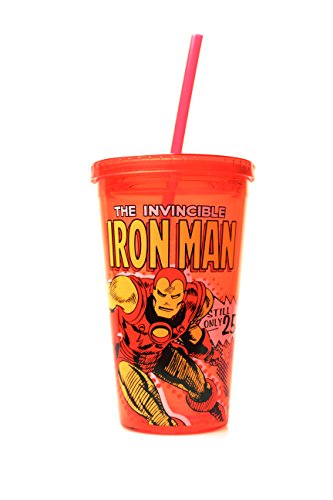 Marvel Iron Man Action 16oz. Straw Cup - Kryptonite Character Store