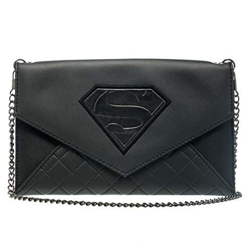 Superman Man of Steel Shield S Logo Black Envelope Wallet with Chain