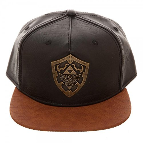 Bioworld Novelty The Legend of Zelda - Metal Shield Snapback Hat , Brown/ Black , One Size - Kryptonite Character Store