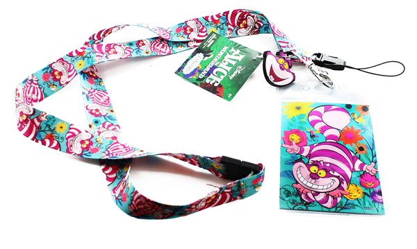 Alice In Wonderland Lanyard with Soft Touch Dangle Cheshire Cat - Kryptonite Character Store