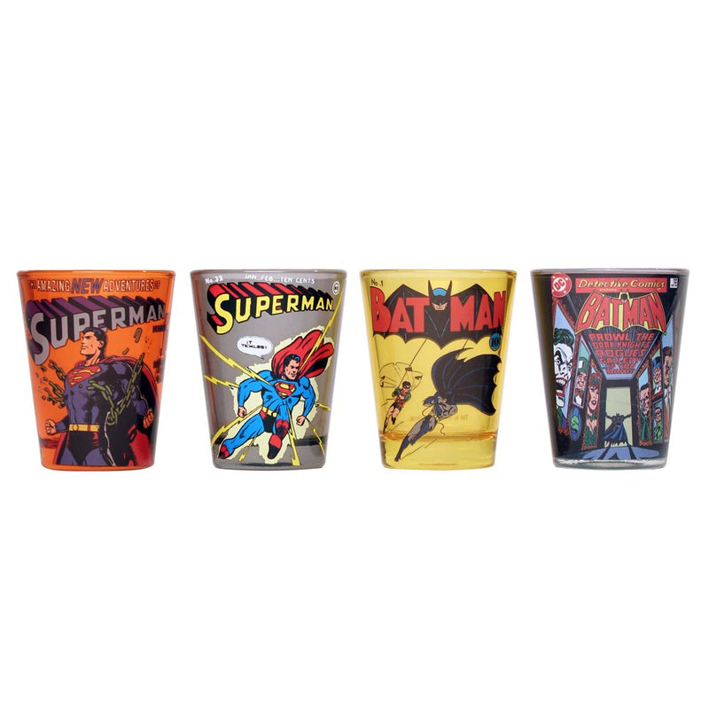 DC Comics Batman & Superman Comic Covers Mini Glass Set, 4-Pack