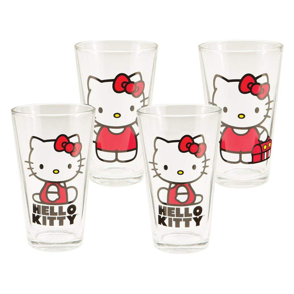 Vandor Hello Kitty 4 pc 16 oz Glass Set, Multicolor