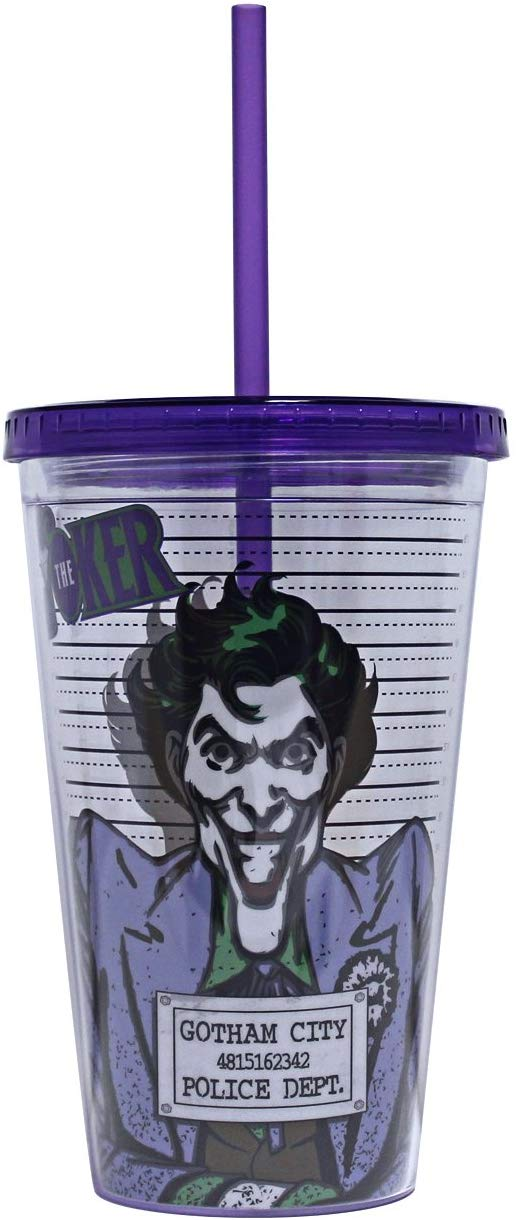 DC Comics Joker Line Up Plastic Cold Cup with Lid and Straw 16-ounces