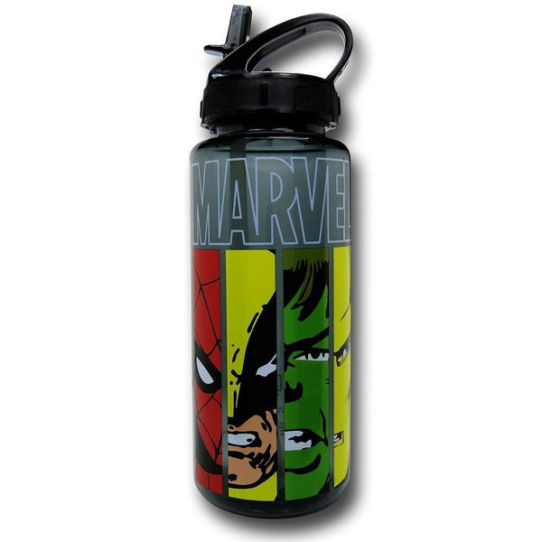 Silver Buffalo Marvel Faces Panel BPA-Free Tritan Water Bottle, 25 oz.