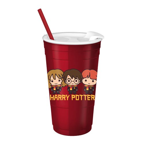 Harry Potter Chibi Trio Dots 32oz Plastic Party Cup with Lid and Straw