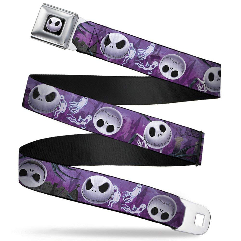 Jack Expressions Ghost In Cemetery Purples/Grays/White Seatbelt Buckle Belt  - Kryptonite Character Store