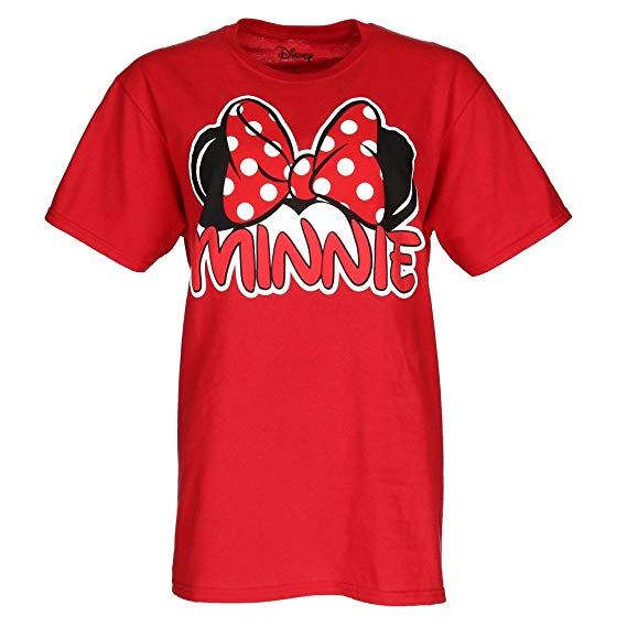 Adult Womens Tee Shirt Minnie Family Fan Red T-Shirt