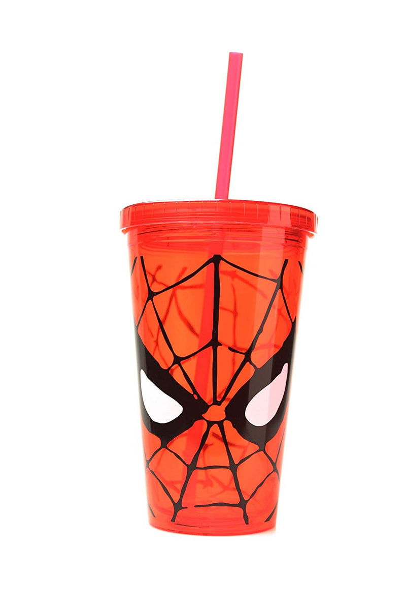 Marvel Spider-Man Eyes Travel Plastic Cup with Straw 16 Ounces - Kryptonite Character Store