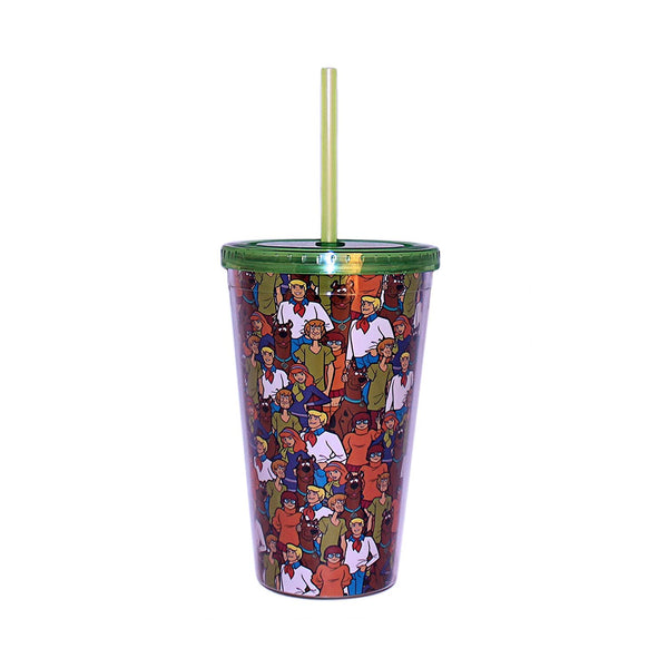 Silver Buffalo Warner Bros Scooby Doo Character Collage Plastic Cold Cup with Lid and Straw, 16-Ounces