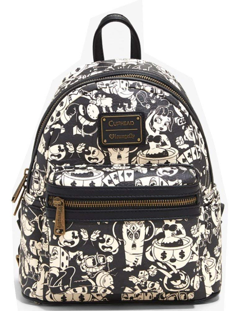 Loungefly x Cuphead Black and White AOP Print Mini Backpack