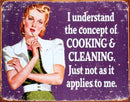 "Cooking and Cleaning Metal Sign 16"" x 12"" - Kryptonite Character Store"