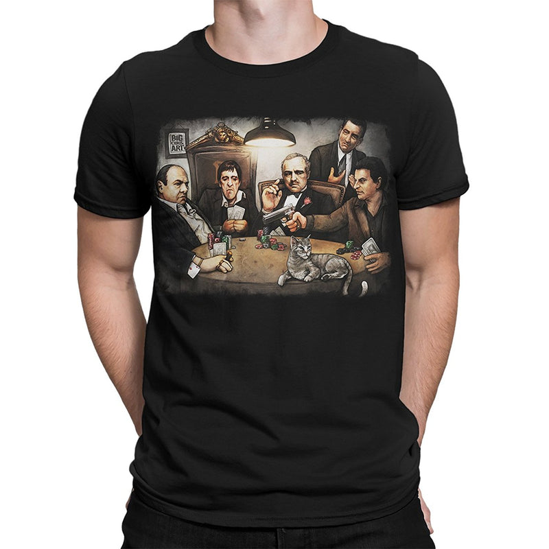 The Godfather Down Art  Gangster's Playing Poker Black T-Shirt