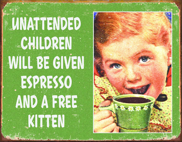 Tin Metal Sign - Unattended Children - Kryptonite Character Store