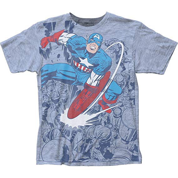 Captain America Captain Fighting Adult Big Print Subway T-Shirt