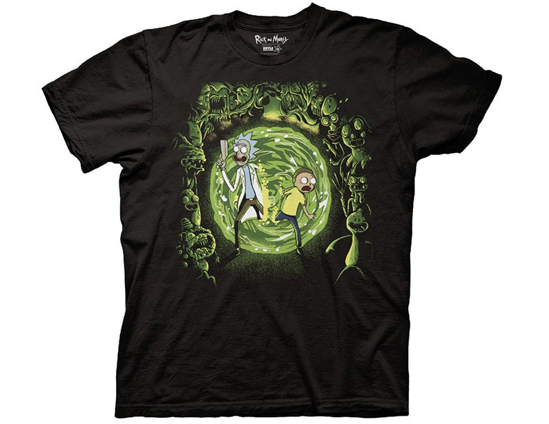 Rick and Morty - Portal and the Monsters Adult Fitted T-Shirt - Kryptonite Character Store