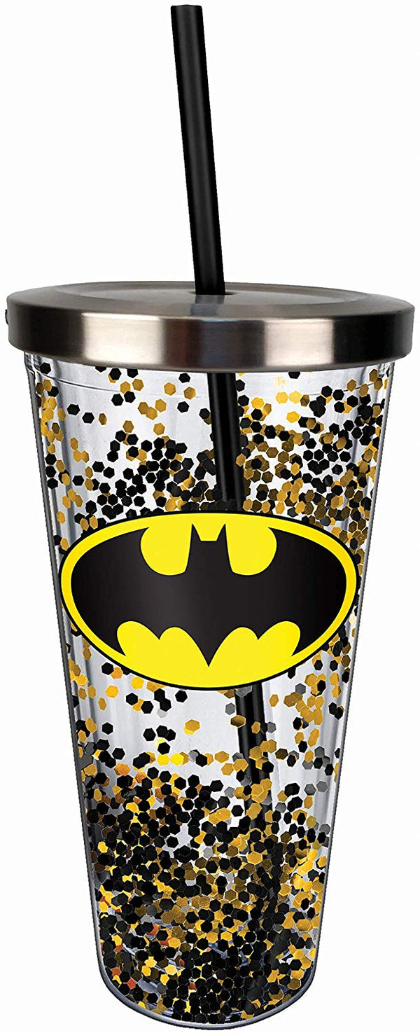 Batman Logo Glitter Cup w/Straw, One Size, Black and Gold