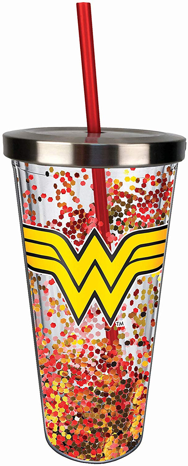 Wonder Woman Logo Glitter Cup w/Straw, One Size, Red & Gold