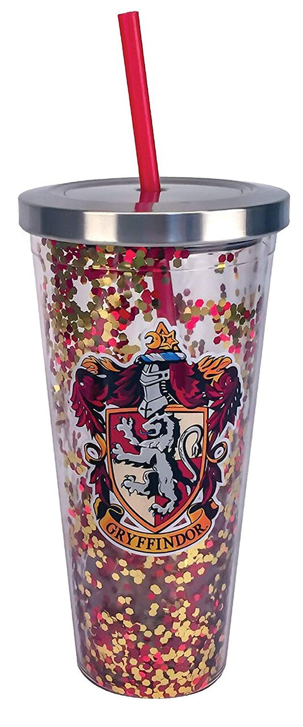 Harry Potter - Gryffindor - Red Gold Glitter 20 oz Acrylic Double Walled Tumbler Cup