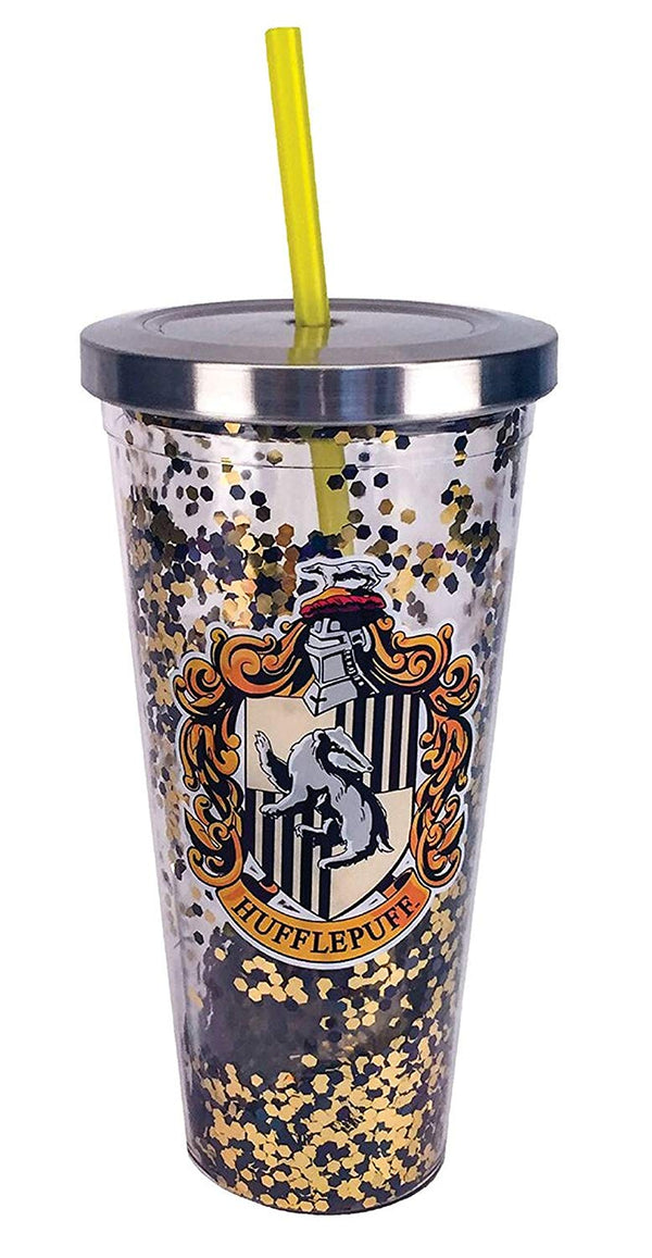 Harry Potter Hufflepuff Yellow Glitter 20 oz Acrylic Double Walled Tumbler Cup