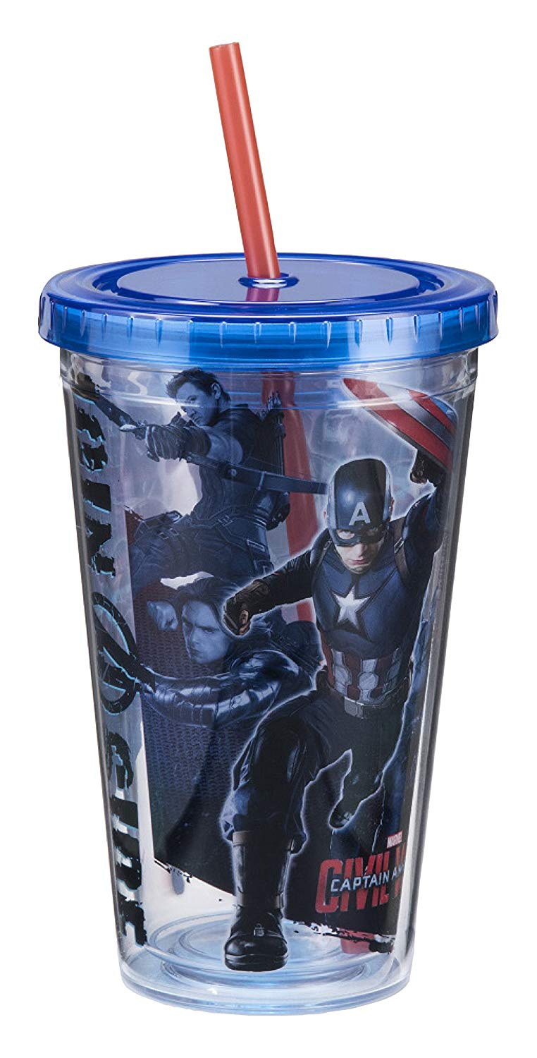 Vandor Marvel Captain America Civil War 18 Ounce Acrylic Cup, Multicolored