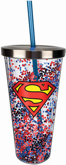 Superman Logo Glitter Cup w/Straw, One Size, Red and Blue