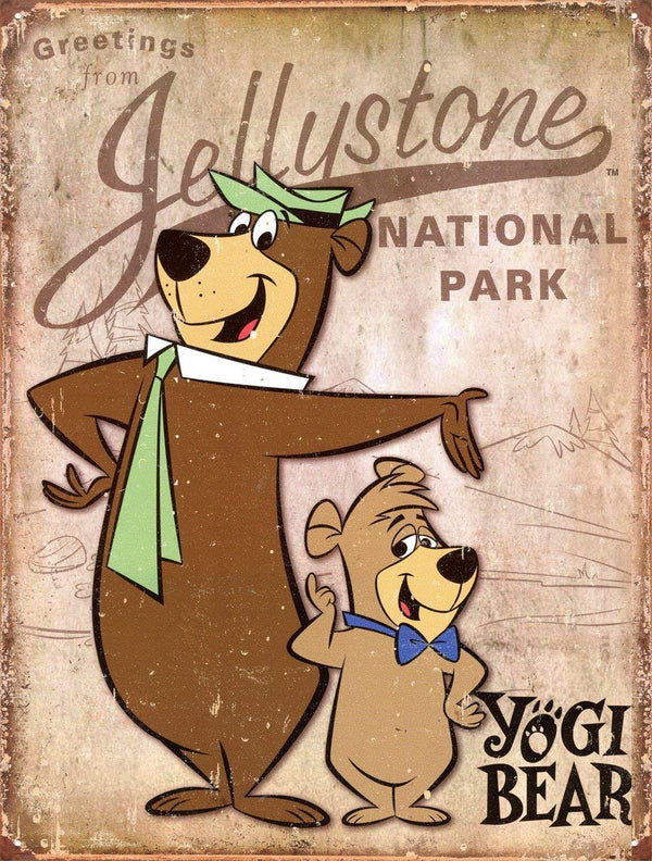 Yogi Bear Jellystone Park Tin Sign 13 x 16 inc - Kryptonite Character Store