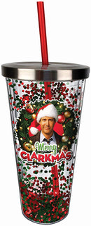 Spoontiques 21331 Merry Clarkmas Glitter Cup w/Straw, One Size, Red and Green