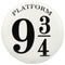 Platform 9 3/4 Embossed  Tin Button  Sign - Kryptonite Character Store