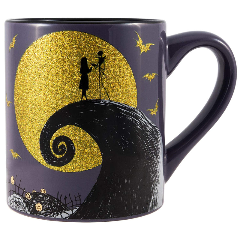 Nightmare Before Christmas Jack and Sally Moon Scene Glitter Ceramic Mug, 14-Ounces