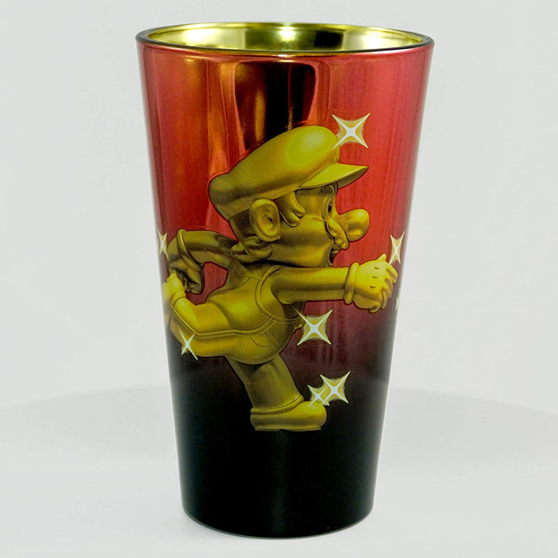 Super Mario Bros. Metallic Metal Mario Foil-Printed Pint Glass, 16oz