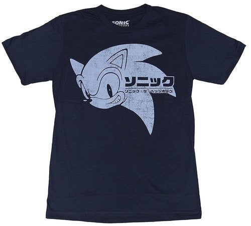 Replicatee Sonic The Hedgehog Japaneese Sonic Head T-Shirt