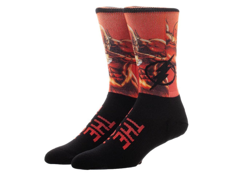 The Flash Over Knit Sublimated Crew Socks - Kryptonite Character Store
