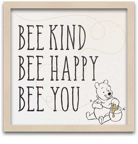 Winnie the Pooh - Bee Kind Framed MDF Wall Art - Kryptonite Character Store