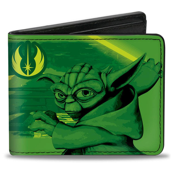 Star Wars The Clone Wars Yoda Jedi Master Action Pose Billfold Wallet  - Kryptonite Character Store