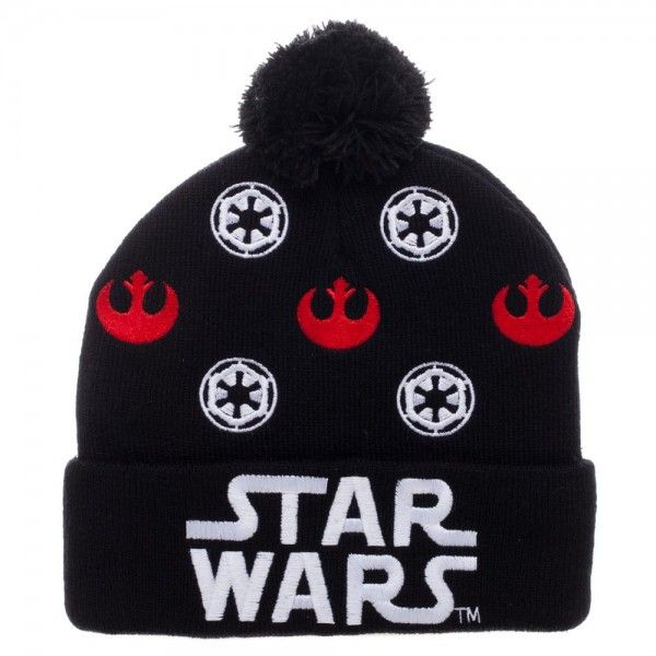 Star Wars Rebel Alliance Galactic Empire Logo Cuff Pom Knit Beanie Cap