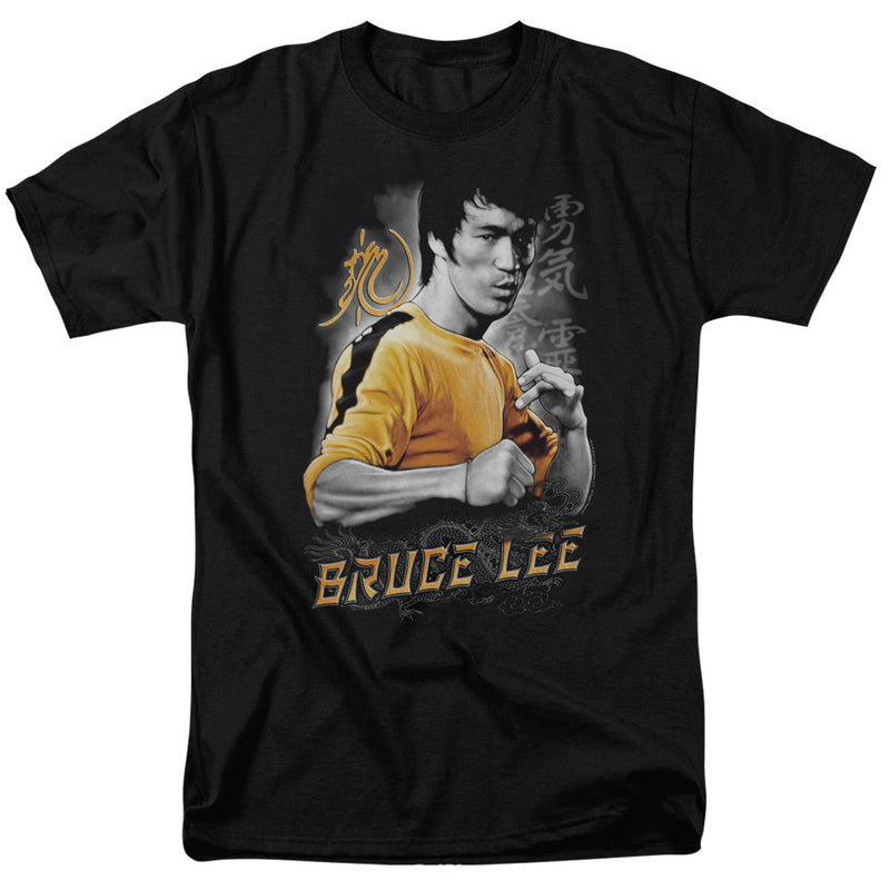Bruce Lee Yellow Dragon Adult Fitted T-Shirt Black