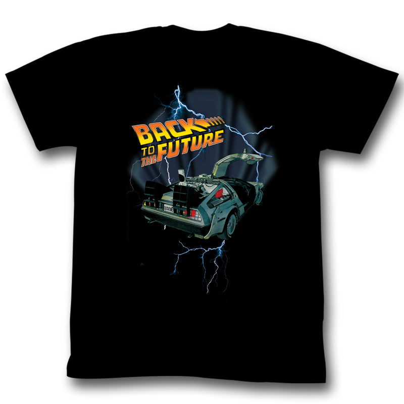 Back to The Future Movie Lightning Car Adult Unisex T-Shirt Tee - Kryptonite Character Store