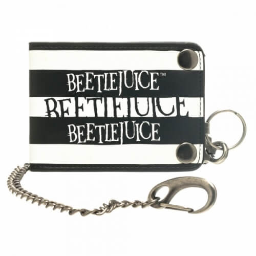 Beetlejuice Logo Black and White Bi-fold Snap Close Wallet with Chain - Kryptonite Character Store