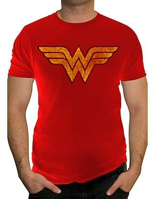 Wonder Woman FADED Logo Adult Red T-shirt